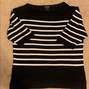 Tops - Cypress Grove short sleeve black & white sweater